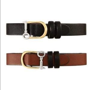 Reversible Single leather band black/brown